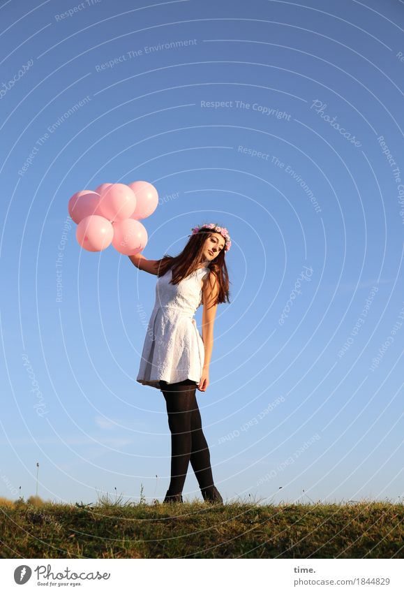 . Feminine 1 Human being Beautiful weather Park Meadow Dress Tights Jewellery Brunette Long-haired Balloon Observe Rotate Relaxation Looking Stand Dance Warmth