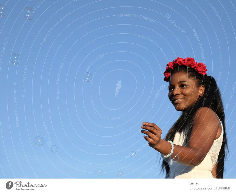 . Feminine Woman Adults 1 Human being Cloudless sky Beautiful weather Dress Jewellery Hair circlet Bracelet Black-haired Long-haired Soap bubble Smiling