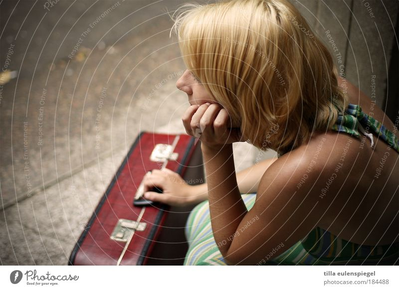 Woman Human being Youth (Young adults) Beautiful Summer Vacation & Travel Loneliness Life Feminine Dream Sadness Wait Blonde Adults Hope