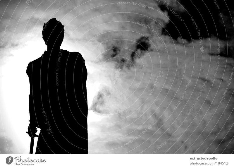 Black & white photo Exterior shot Contrast Silhouette Sunlight Back-light Upward Human being Masculine Man Adults Skin Head Arm Hand 1 Sculpture Old town