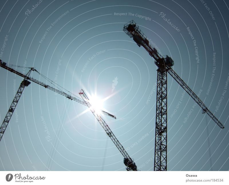 Sky Sun Watercraft Stars Rope Construction site Contact Steel cable Beautiful weather Build Crane Agree Strike Blue sky Spark Encounter
