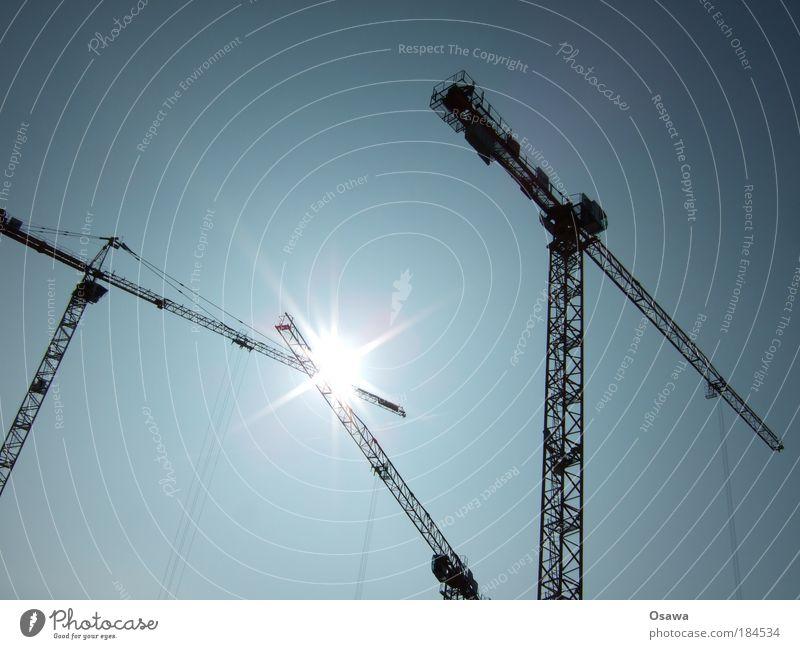 Sky Sun Watercraft Stars Rope Construction site Contact Steel cable Beautiful weather Build Crane Agree Strike Blue sky Spark Encounter