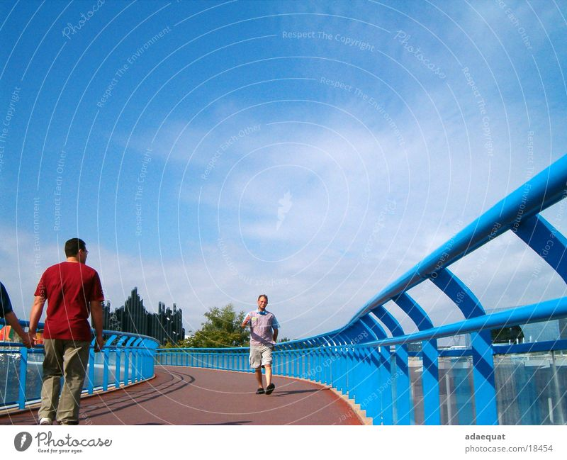 Human being Sky Blue Summer Vacation & Travel Movement Bridge Technology
