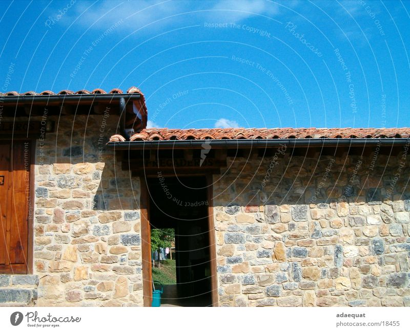 Fregaderos House (Residential Structure) Summer Fieldstone house Building Tiled roof Mediterranean Architecture Sky