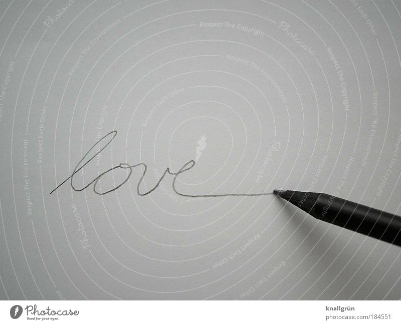 loveline Black & white photo Studio shot Close-up Deserted Copy Space top Copy Space bottom Neutral Background Write Stationery Paper Pen Pencil Characters