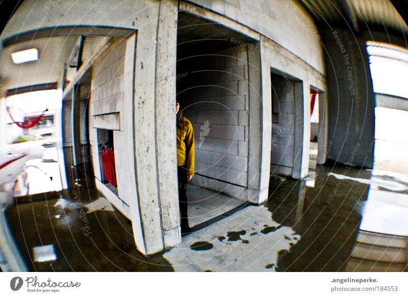 search picture Fisheye Construction site Dirty Puddle Going Human being Fear Escape Hide yellow jacket Wet