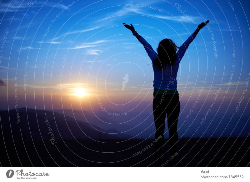 Silhouette of young woman against sunset Human being Woman Sky Nature Vacation & Travel Youth (Young adults) Blue Summer Young woman Sun Hand Landscape Red