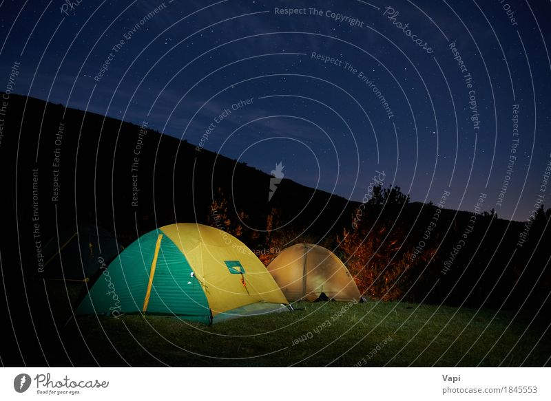 Illuminated yellow camping tent under stars Sky Nature Vacation & Travel Blue Summer Green Landscape Clouds Dark Forest Mountain Black Yellow Autumn Sports Grass