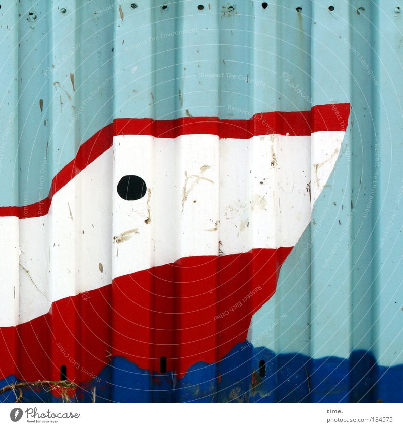sulkboat Wall (building) Tin Scotsman Maritime Colour Painting and drawing (object) Art White Blue Red Watercraft (the assistant does not know any ship) Hollow