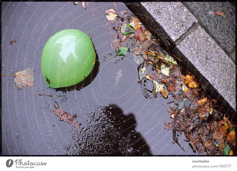 Beautiful Leaf Street Dark Autumn Emotions Jump Playing Happy Stone Rain Art Environment Balloon Lie Leisure and hobbies