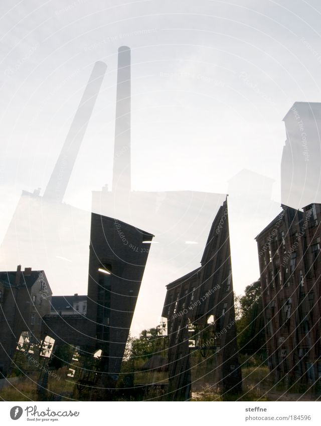Wall (building) Wall (barrier) City Facade Saxony Factory Transience Decline Chimney Industrial plant Outskirts Chemnitz Ruin Industrial wasteland