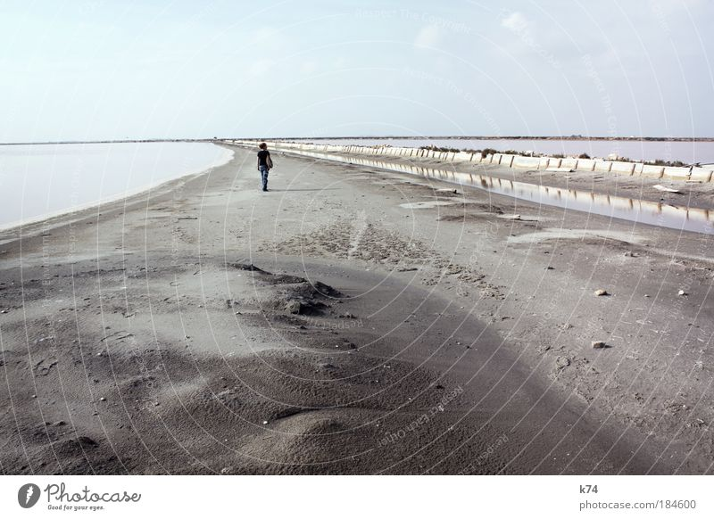 Walk The Line Colour photo Subdued colour Exterior shot Day Human being 1 Water Horizon Ocean Lake Sand Going Far-off places Calm Loneliness Doomed