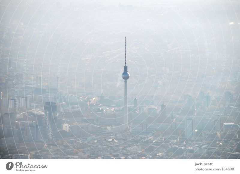 about Berlin, haze and view Fog Downtown Berlin Capital city Tourist Attraction Landmark Berlin TV Tower Moody Aerial photograph Dawn Silhouette