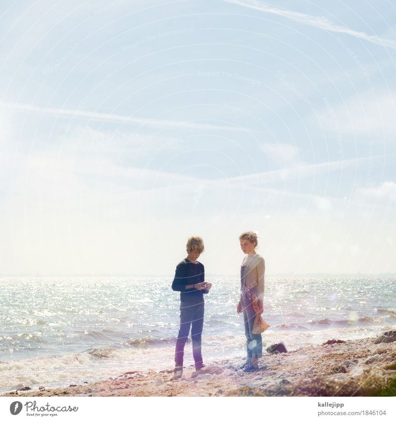 Human being Child Nature Summer Water Landscape Girl Beach Environment Life Coast Boy (child) Sand Horizon Air Waves