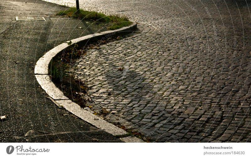 City Summer Calm Loneliness Street Autumn Grass Stone Lanes & trails Glittering Road traffic Round Asphalt Longing Traffic infrastructure