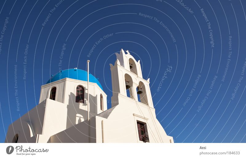 Church on Santorini Exterior shot Deserted Day Sunbeam Vacation & Travel Summer Dome Cliche blue color flower Greece Hotel Image (representation) landscape