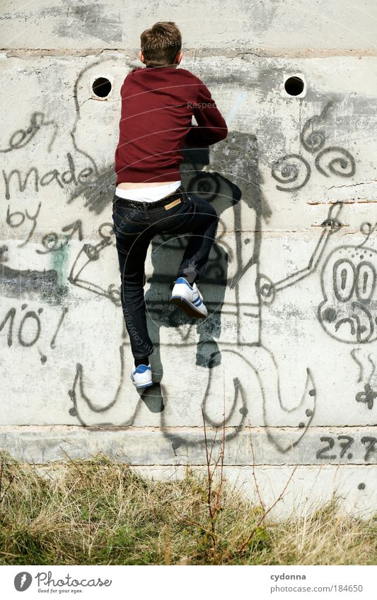 Man Youth (Young adults) Adults Life Wall (building) Graffiti Freedom Movement Lanes & trails Wall (barrier) Style Dream Concrete Energy Success Perspective