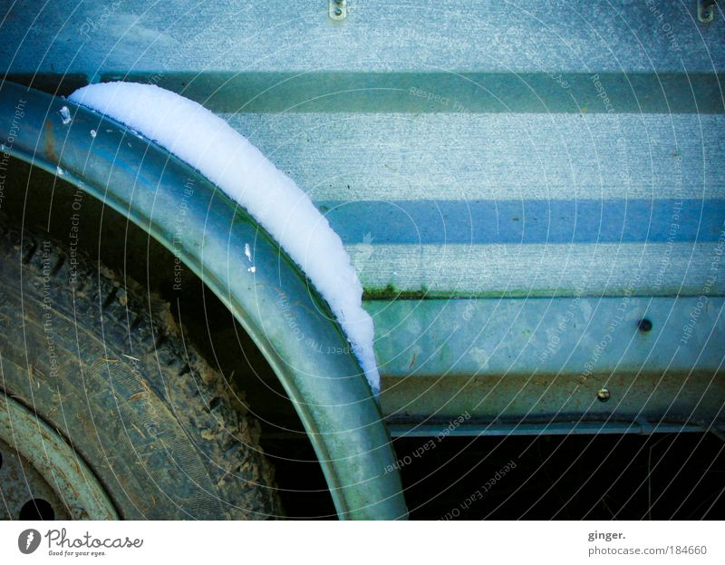 Old Blue White Green Winter Cold Snow Dark Metal Brown Dirty Stripe Rust Wheel Shabby Environment