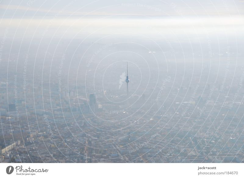 Somehow, some way, some way Horizon Climate change Fog Berlin Berlin TV Tower Capital city Landmark Moody Center point Far-off places Unclear Atmosphere