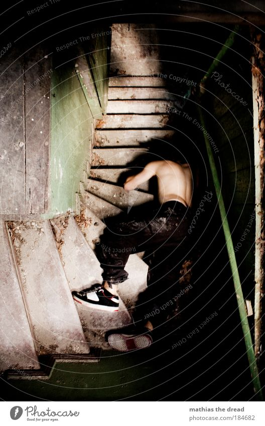 Human being Blue Dark Death Wood Building Footwear Lie Dirty Stairs Masculine Dangerous Pain Intoxicant Ruin Alcoholic drinks