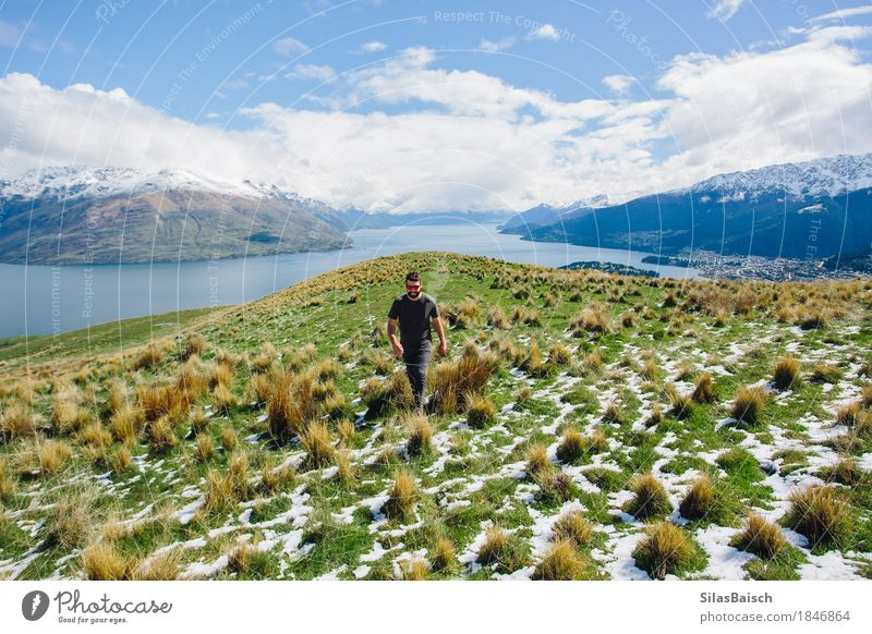Adventure in New Zealand Nature Vacation & Travel Youth (Young adults) Young man Landscape Clouds Joy Far-off places 18 - 30 years Mountain Adults Environment Life Lifestyle Freedom Trip