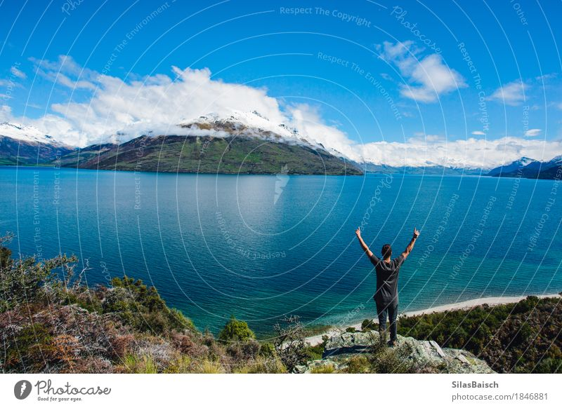 Adventure New Zealand Human being Vacation & Travel Youth (Young adults) Young man Joy Far-off places 18 - 30 years Mountain Adults Lifestyle Healthy Happy Freedom Lake Trip Hiking