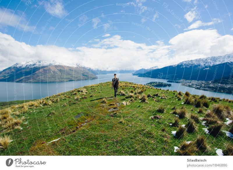 Queenstown and Lake Wakatipu Human being Nature Vacation & Travel Youth (Young adults) Plant Young man Landscape Clouds Joy Far-off places 18 - 30 years Mountain Adults Lifestyle Freedom Lake