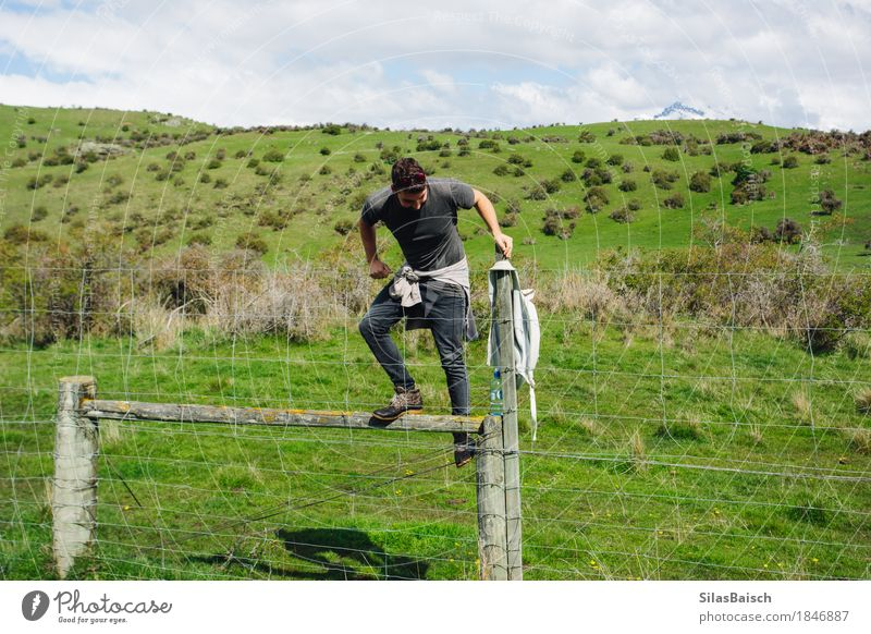 No Risk No Fun Nature Vacation & Travel Youth (Young adults) Young man Far-off places 18 - 30 years Adults Grass Garden Freedom Jump Trip Hiking Body Dangerous Adventure