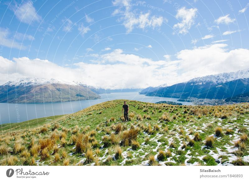 Exploring New Zealand Nature Vacation & Travel Youth (Young adults) Young man Landscape Joy Far-off places 18 - 30 years Mountain Adults Freedom Lake Rock Tourism Trip Hiking