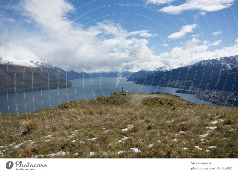 Lake Wakatipu in New Zealand Nature Vacation & Travel Youth (Young adults) Young man Landscape Clouds Joy Far-off places 18 - 30 years Mountain Adults Happy Freedom Lake Rock Trip