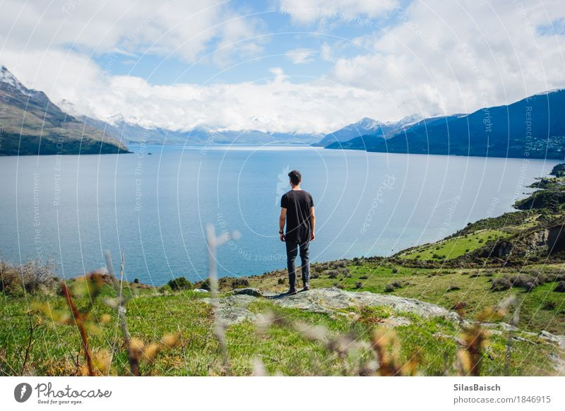 Beautiful Lake in queenstown Nature Vacation & Travel Youth (Young adults) Plant Flower Young man Landscape Clouds Joy Far-off places 18 - 30 years Mountain