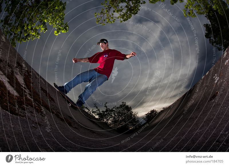 skyramp Colour photo Twilight Fisheye Sports Sportsperson Skateboard Halfpipe Masculine 18 - 30 years Youth (Young adults) Adults Movement Skateboarding Action