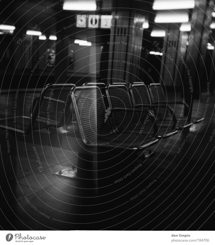 the 8 Black & white photo Interior shot Light (Natural Phenomenon) Low-key Shallow depth of field Central perspective Interior design Seat Bench Train station