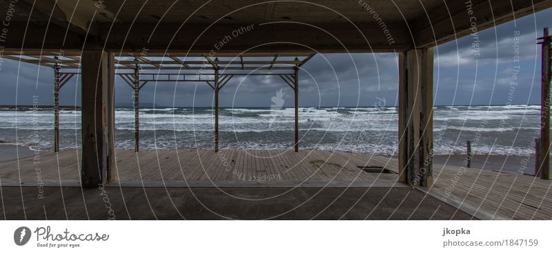 The sea in the view of a ruin Meditation Swimming & Bathing Vacation & Travel Far-off places House (Residential Structure) Ruin Clouds Autumn Bad weather Storm
