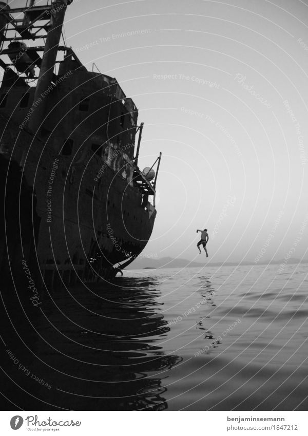 greek boat jump #1 be afloat Vacation & Travel Tourism Adventure Far-off places Summer Ocean Waves Sky Cloudless sky Weather Coast Bay Navigation Container ship