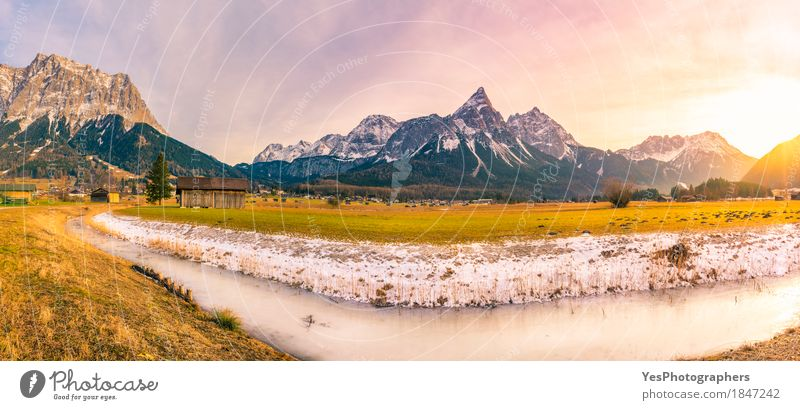 Alpine winter panorama in the afternoon Nature Vacation & Travel White Landscape Winter Mountain Yellow Meadow Snow Tourism Copy Space Field Europe Picturesque River Peak