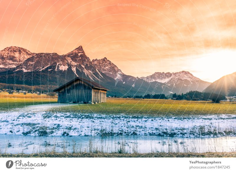 Wooden barn and alpine snowy scenery Vacation & Travel Tourism Winter Snow Winter vacation Mountain Nature Landscape Spring Alps Peak Snowcapped peak River