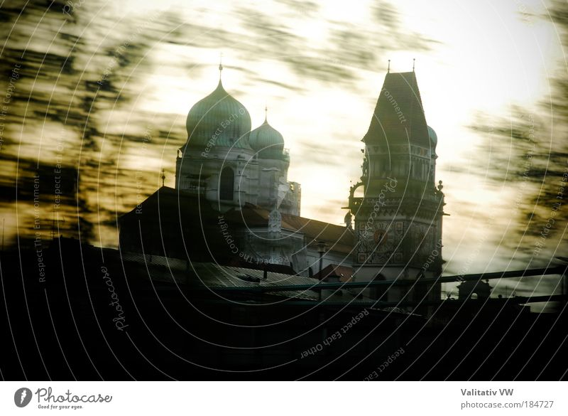 Passau Cathedral and City Tower Colour photo Exterior shot Deserted Copy Space bottom Twilight Old town Church Dome Tourist Attraction Religion and faith Day