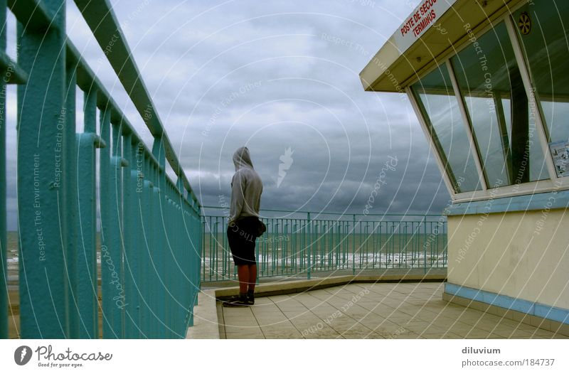 Hard on the wind Colour photo Exterior shot Morning Rear view Masculine Back 1 Human being Clouds Waves Coast North Sea Looking Stand Blue Gray Loneliness