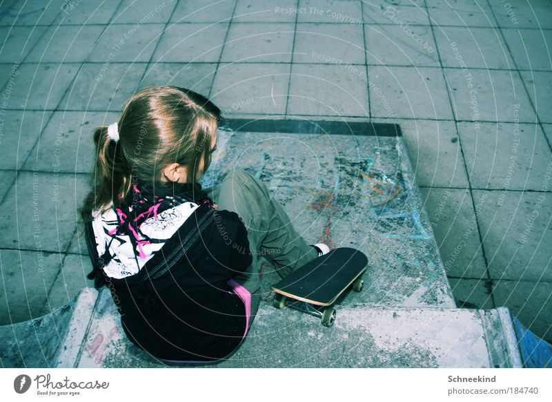 Human being Youth (Young adults) Adults Relaxation Life Feminine Graffiti Woman Movement Style Back Sit Concrete Esthetic Young woman Lifestyle
