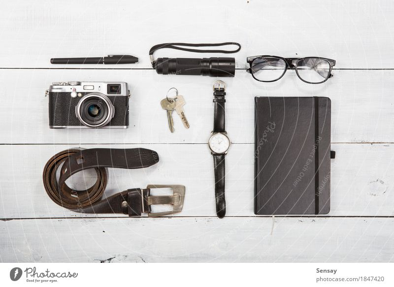 set of cool stuff with camera and other travel things Vacation & Travel Summer White Black Life Lifestyle Wood Tourism Trip Modern Retro Photography Things
