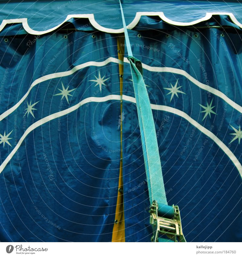 stars in the manege Colour photo Exterior shot Day Circus Event Belt Tent Circus tent Blue Infancy Tent door Detail Section of image Partially visible