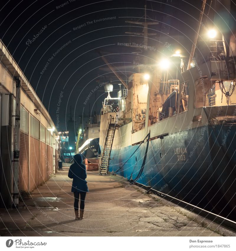 fishing port Industry Young woman Youth (Young adults) 1 Human being Bremerhaven Navigation Watercraft Harbour Observe Wait Cold Longing Wanderlust Fishing port