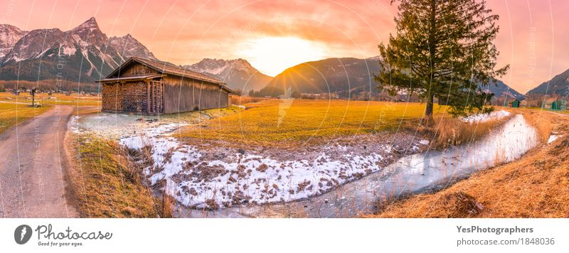 Winter sunset in the Austrian Alps Joy Vacation & Travel Tourism Snow Winter vacation Mountain Nature Landscape Spring Tree Meadow Peak Snowcapped peak River