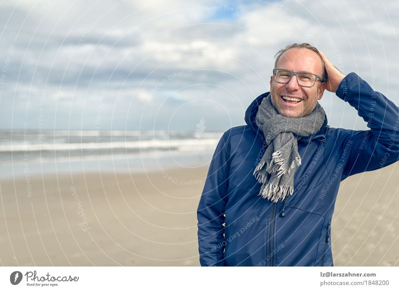 Happy laughing middle-aged man with glasses Lifestyle Face Relaxation Vacation & Travel Tourism Beach Ocean Man Adults 1 Human being 30 - 45 years Autumn Wind