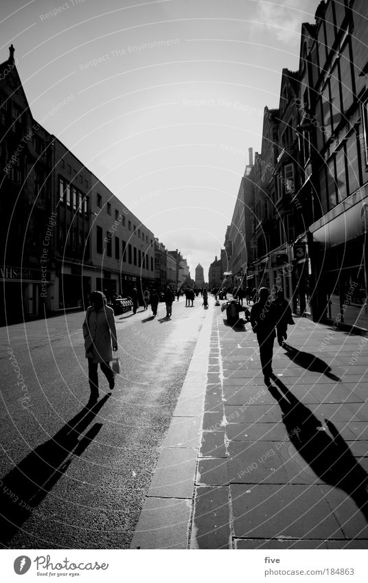 Walk The Line Human being Town Downtown Populated House (Residential Structure) Pedestrian Street Going England Oxford Black & white photo Exterior shot Morning