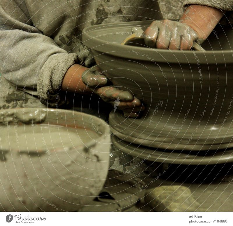 turnaround Handicraft Craftsperson Potter Do pottery Workplace Construction site Craft (trade) SME Company Career Success Potter's wheel Pottery Arm Art Artist