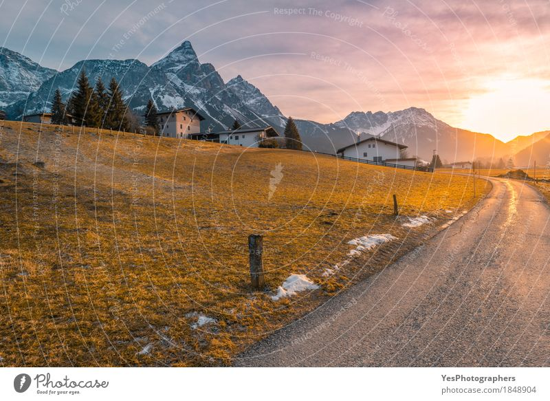 Country road toward alpine village Nature Vacation & Travel Landscape Winter Mountain Snow Tourism Copy Space Europe Beginning Picturesque Peak Frost Seasons