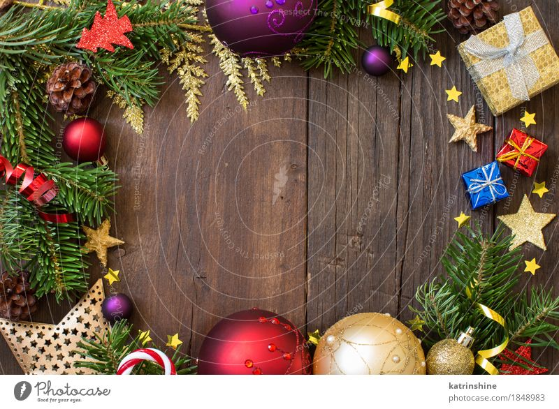 Christmas composition with decorations Blue Christmas & Advent Green Red Winter Yellow Feasts & Celebrations Bright Decoration Violet Sphere New Year's Eve