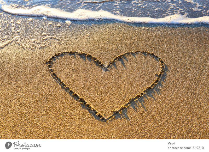 Heart drawn on the beach sand Joy Relaxation Vacation & Travel Tourism Trip Summer Summer vacation Sunbathing Beach Ocean Island Waves Wedding Nature Landscape